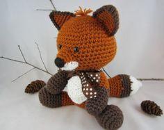 Crochet Fox Stuffed Fox Fox Plush Red Fox Woodland by AdrialysHC