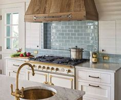 Wood Range Hood - Vent Hood Cover - Coastal Farmhouse Kitchen by Dearborn Builders #Coastal #CoastalFarmhouse #Beach #Kitchen #DreamKitchen #Farmhouse