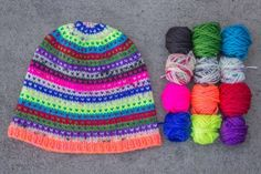 """Neon Fusion Modicum"" Hat is made with a Neon set of #Madelinetosh Tosh DK teacakes and sizes 4 and 6 needles. This pattern is FREE when you buy the Tea Cakes! http://www.jimmybeanswool.com/knitting/yarn/Madelinetosh/ToshDKTeaCakes.asp"
