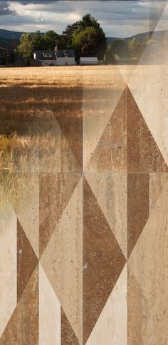 """The earthy tones of a country landscape blend with each other, designing bucolic emotions that here speak through #marble, too. Our """"tangram country"""" texture from the """"Opus"""" collection"""