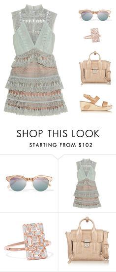 """""""pale mint"""" by icelle ❤ liked on Polyvore featuring Le Specs, self-portrait, Suzanne Kalan, 3.1 Phillip Lim and Ancient Greek Sandals"""
