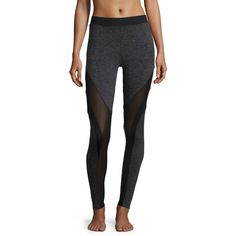Koral Activewear Frame Mesh-Panel Sport Leggings (€125) ❤ liked on Polyvore featuring activewear, activewear pants, dark grey heather, sports activewear, sports jerseys and sport jerseys