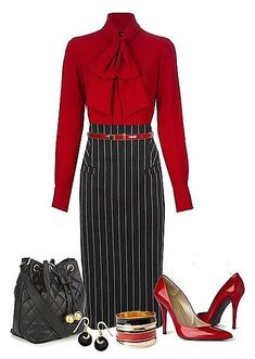 A fashion look from December 2013 featuring red shirt, high-waisted pencil skirts and Stuart Weitzman. Browse and shop related looks. Classy Outfits, Chic Outfits, Fall Outfits, Fashion Outfits, Womens Fashion, Modelos Fashion, Hijab Chic, Professional Outfits, Mode Outfits