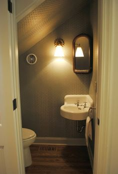 If you are looking for Small Attic Bathroom Design Ideas, You come to the right place. Below are the Small Attic Bathroom Design Ideas. This post about S. Small Attic Bathroom, Bathroom Under Stairs, Tiny Bathrooms, Basement Bathroom, Bathroom Ideas, Bathroom Remodeling, Toilet Under Stairs, Remodeling Ideas, Bathroom Organization