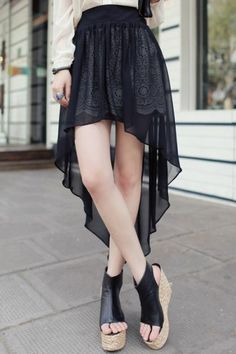 Black Crochet Contrast Chiffon High Low Skirt pictures