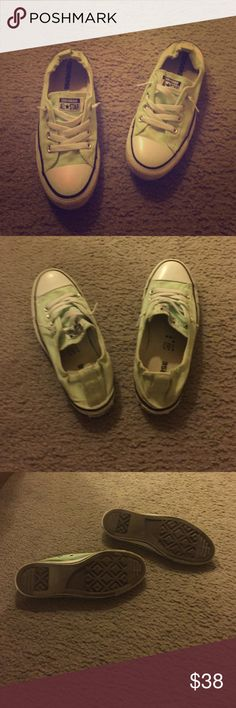Converse slip ons Mint converse slip ons. Women's size 8. So comfortable and fashionable. A few scuffs around the outside on the white parts, but no stains on the mint fabric. They've been worn but still in great shape! Bottoms aren't very worn at all. Converse Shoes Sneakers
