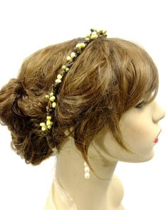 Autumn Crown Ivory and Green Berry Crown by RuthNoreDesigns