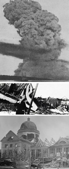 On the morning of December 6, 1917, a Norwegian ship, the SS Imo, collided with the French munitions vessel, the SS Mont Blanc, in the harbor of Halifax, Nova Scotia. Within 20 minutes, a fire spreading into the Mont Blanc's cargo of assorted ammunition ignited and exploded in what is regarded as the largest man-made pre-nuclear explosion in human history. An iron cannon from the Mont Blanc landed in a field nearly four miles away. A monument was created where the cannon fell.