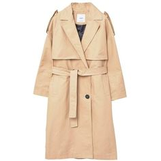 Double Breasted Trench (1.068.995 IDR) ❤ liked on Polyvore featuring outerwear, coats, coats & jackets, jackets, płaszcze, lapel coat, cotton coat, lined trench coat, beige trench coat and double-breasted coat