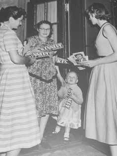 """kennedycamelot: """" """"Pat and Eunice Kennedy go door-to-door to hand out car bumper stickers and photographs in support of their brother's senatorial campaign. All the family were mobilized, and in particular it marked Bobby's coming-of-age as a..."""