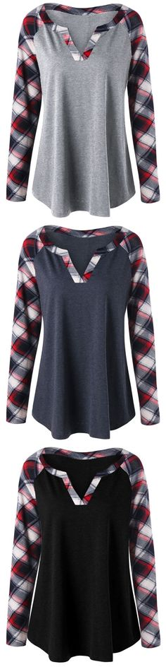 Would be a fairly easy Refashion Size Plaid Raglan Sleeve Top New Outfits, Fashion Outfits, Fashion Ideas, Plus Size Kleidung, Look Cool, Refashion, Pretty Outfits, Tartan, Plus Size Outfits