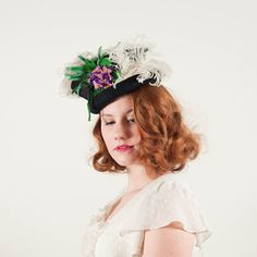 vintage 1930s Violet Bouquet tilt hat