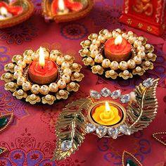 Pearl and Kundan Metal Diya Sets Arti Thali Decoration, Diwali Decoration Items, Thali Decoration Ideas, Diwali Decorations At Home, Ganapati Decoration, Diwali Lamps, Diwali Lights, Diwali Craft, Diwali Rangoli