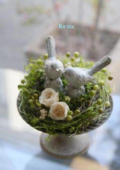 2013.2.9 小鳥と緑のリングピロー ちょっぴりアンティーク