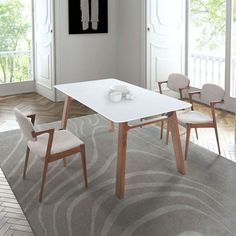 Carmel Contemporary Dining Table | Mid-Century Modern Decorating | White + Walnut | Eurway