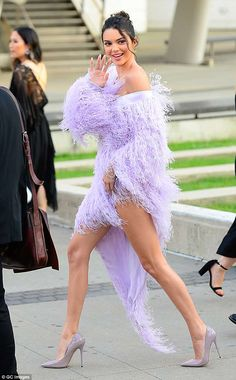 Legs for days: The supermodel, 22 flaunted her flawless figure in a breezy lavender cockta... #kendalljenner