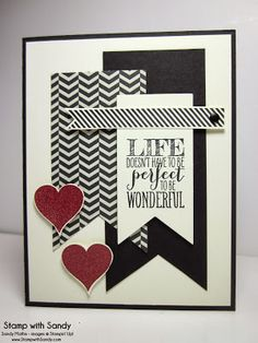 Wonderful Valentine from Sandy Mathis.  Perfect Pennants Stamp Set and Banner Framelits.
