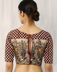 Kalamkari Blouse Designs For more designs visit…Here in this post you will find latest and beautiful 60 unique blouse back neck designs for saree. Kalamkari Blouse Designs, Cotton Saree Blouse Designs, Blouse Patterns, Kalamkari Blouses, Blouse Back Neck Designs, Simple Blouse Designs, Clothing, Gold Blouse, Black Blouse