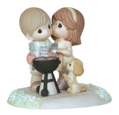 Precious Moments Our Love Sizzles. Features a boy and a girl having a backyard BBQ. This Precious Moments figurine is a great gift. Figurine is made of porcelain. $65.00. #PreciousMoments