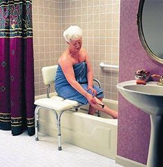 Tub Transfer Bench, Lightweight Medical Bath and Shower Chairwith Back Non-Slip Seat, Bathtub Transfer Bench for Elderly and Disabled, Adjustable Height Durable blow–molded grey plastic medical shower bench and backrest on top of A-frame construction. Ada Bathroom, Handicap Bathroom, Bathroom Chair, Bathrooms, Shower Chair, Shower Seat, Shower Benches, Bath Shower, Handicap Accessible Home