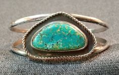 OLD PAWN VTG NAVAJO STERLING SILVER TURQUOISE SHADOWBOX CUFF BRACELET
