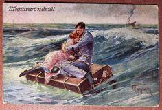"RARE postcard 1920s  French bulldog. Couple love ""Honeymoon"" Shipwreck Artist!"