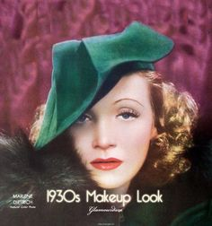 In the 30s, eyebrows were plucked to a pencil thin line, mascara was used only on the upper lashes and eyeliner was applied from the tear duct to achieve an upturned triangle shape. Lipstick was used to give the lips a rosebud effect. Most popular lipstick colors: dark red, maroon and raspberry.