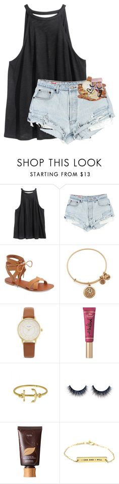 """""""Stop asking questions like you care what I think."""" by magconkailah ❤ liked on Polyvore featuring H&M, Topshop, Alex and Ani, Kate Spade, Too Faced Cosmetics, Fornash and tarte"""