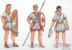 La clamide de los soldados era decorada con bandas de color en los ribetes superiores del cuello y los hombros debajo de las costuras del costado. los ribetes se te~ian