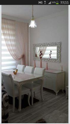 Perde Bedroom Color Schemes, Bedroom Colors, Diy Home Decor, Room Decor, Drapery Designs, Dinner Room, Dinning Table, Dining Furniture, Living Room Designs
