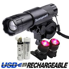 Sunspeed Waterproof Rechargeable LED Bike Light Set - LED Bright Headlight for Front and Tail Safety Light for Back of Bikes, Easy to Mount, No Tools Needed, For Road, Racing & Mountain Bicycles - 18650 Batteries Included - 100% No-hassle Replacement Guarantee