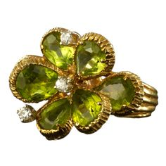 Peridot Diamond Yellow Gold Flower Ring | From a unique collection of vintage fashion rings at http://www.1stdibs.com/jewelry/rings/fashion-rings/