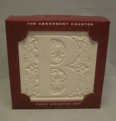 """AbsorbaStone Absorbent Coaster Set of 4 """"B"""" Made in USA"""