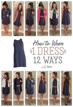 How to wear and style 1 navy tank swing dress 12 different ways! Perfect for Spring! - Dress to ImpressHow to wear and style 1 navy tank swing dress 12 different ways! This navy polka dot swing dress is perfect to dress up or down! Mode Outfits, Fall Outfits, Casual Outfits, Fashion Outfits, Womens Fashion, Travel Outfits, Chambray Shirt Outfits, Casual Work Outfit Summer, Casual Office Attire