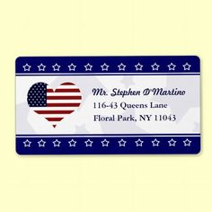Patriotic USA Heart Flag Personalized Avery Shipping Labels. #Military #Patriotic #ShippingLabels