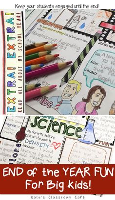 End of the school year activity for the upper elementary/middle school classroom. Engaging printable project that will help keep kids writing, thinking and discussing until the very last day! Parents will love this memory book that highlights the happeni