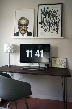 Walnut board desk.