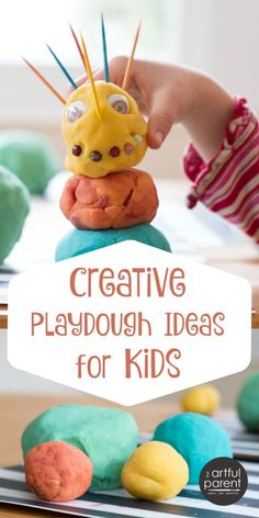 Some creative playdough ideas for kids, including making fantastical creatures, using poke-ins, trying playdough mats, forming letters, and pretend play.