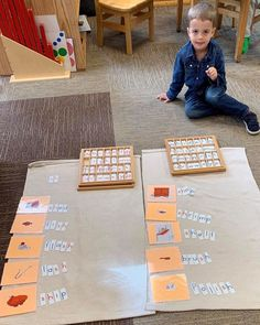 """The Moveable Alphabet prepares your child for writing, reading and spelling. It allows the child to write before they are physically ready to hold a pencil and make letters. Once our student is comfortable putting sounds together to form phonetic words, we introduce spelling rules one phonogram at a time (""""sh"""" below). Our Guide (Teacher) works with the child for the first presentation, then they are free to take the material and explore, write stories, etc. Photo (c) of Miniapple Montessori What Is Montessori, Montessori Kindergarten, Montessori Classroom, School Classroom, Preschool, Learning Centers, Fun Learning, Reading Words, Kindergarten"""
