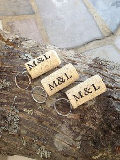 PERSONALIZED Wine Cork Keychain Favors Great by KrystlesWeddings NEW