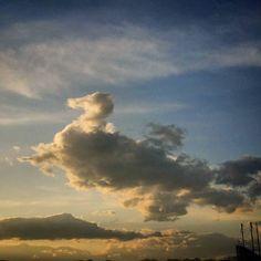 空に巨大アヒルが出現しました\(o)/ あっという間に逃げてしまった笑  #イマソラ #空 #雲 #くも #アヒル #アヒル雲 #sky #duck by sositesora
