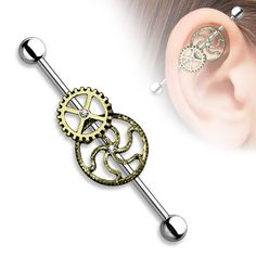 """Burnish Gold Steampunk Centered 316L Surgical Steel Industrial Barbells 14G 1 1/2"""""""