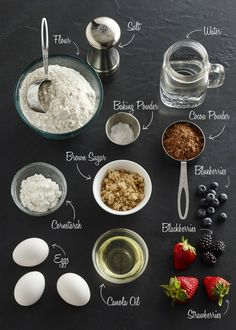 Ingredients to make a chocolate waffle