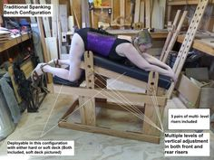 Its a spanking bench, Its a standing or kneeling stockade/pillory, Its a gyno exam bed and theres even an optional adjustable mount for most standard f_cking machines. My transformer bench is hand built, Solid Red Oak, (excepting oak plywood decking) Can be configured and reconfigured for almost limitless applications with no tools. . And it all breaks down for easy storage in an average bedroom closet. (2.5 x 2.5 sq ft of floor) Comes with all the attachments and accessories pictured here…