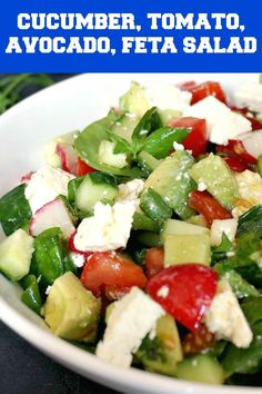 Cucumber Tomato Avocado Feta Salad, a healthy and easy to prepare salad that can be enjoyed no matter the season. A keto-friendly recipe, vegetarian, it can be made vegan by omitting the cheese. Low calorie, low carb, gluten free, this salad is so yummy. Great on its own, or as a side dish, my vegetarian salad is a summer favorurite dish, a big hit with the whole family. It's so refreshing, and the prep is less than 5 minutes. Serve it cold for the best experience. Healthy Salad Recipes, Healthy Snacks, Vegetarian Recipes, Vegetarian Salad, Keto Recipes, Ketogenic Recipes, Cucumber Recipes, Vegetarian Dinners, Keto Foods