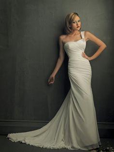 A-line Strapless One Shoulder Ruched Chiffon Wedding Dress-wa0012, $244.95