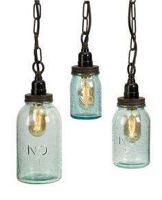 IMAX 87617-3 Lexington Mason Jar Pendant Lights, Set of 3