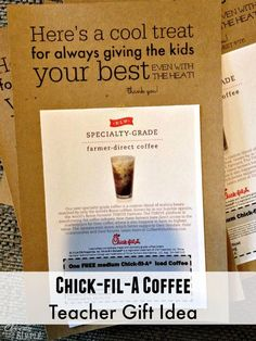Chickfila Teacher Gift Idea!  All you need is some cardstock and a gift card.  Free printable included to help you make this great gift!
