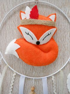 Items similar to Tribal baby mobile Dreamcatcher Orange felt fox Christmas gift idea for baby Birth Baptism Birthday Baby shower in Etsy Fox Crafts, Felt Crafts Diy, Felt Mobile, Baby Mobile, Fox Decor, Baby Decor, Felt Fox, Wool Felt, Christmas Gifts For Kids