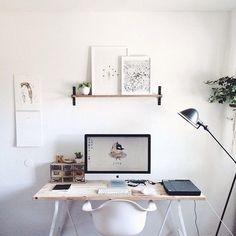 Loving this clean and inspiring home office of featuring the Eames Molded Plastic Armchair. Tell us what's in your dream home office? Workspace Inspiration, Decoration Inspiration, Interior Inspiration, Desk Inspo, Creative Inspiration, Daily Inspiration, Decor Ideas, Home Office Space, Office Workspace